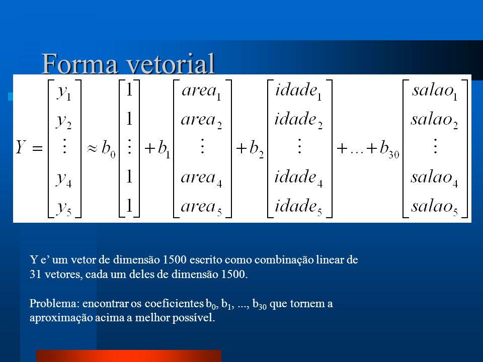 Forma vetorial Y e um vetor de dimensão 1500 escrito como combinação linear de 31 vetores, cada um deles de dimensão 1500. Problema: encontrar os coef