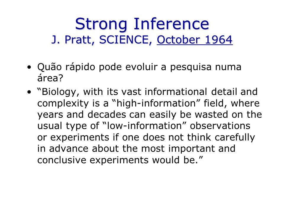 Strong Inference J. Pratt, SCIENCE, October 1964 Quão rápido pode evoluir a pesquisa numa área.