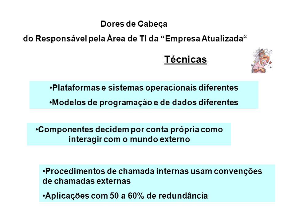 Dores de Cabeça do Responsável pela Área de TI da Empresa Atualizada Plataformas e sistemas operacionais diferentes Modelos de programação e de dados
