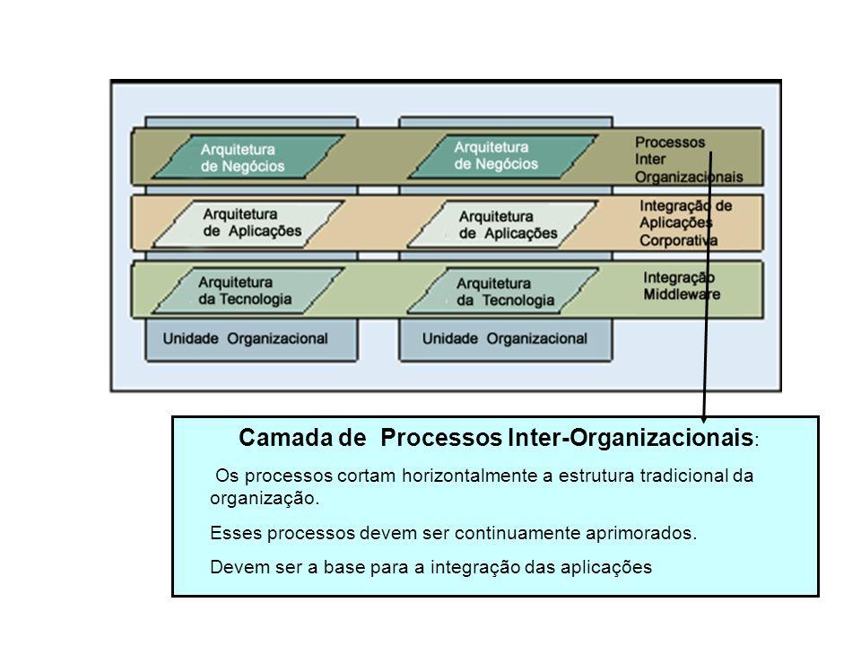 Camada de Processos Inter-Organizacionais : Os processos cortam horizontalmente a estrutura tradicional da organização. Esses processos devem ser cont