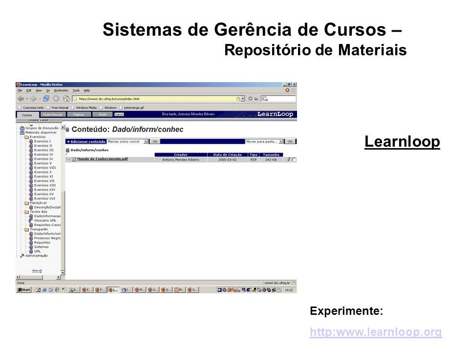 Sistemas de Gerência de Cursos – Repositório de Materiais Experimente: http:www.learnloop.org Learnloop