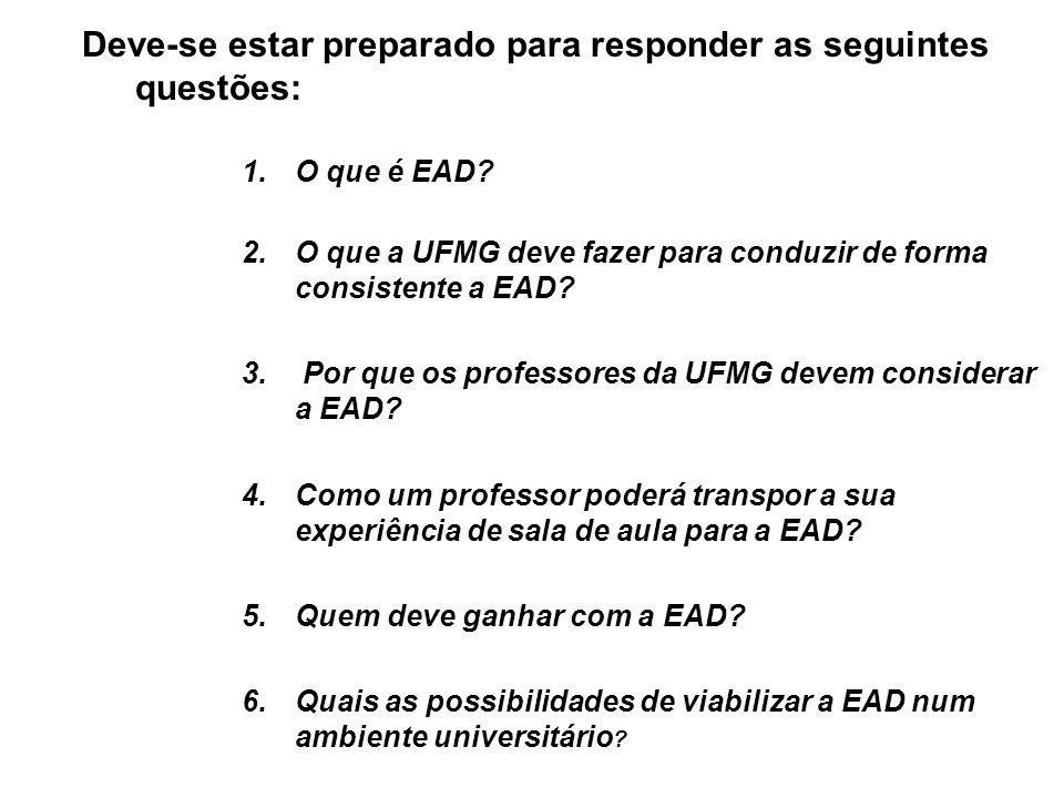 Deve-se estar preparado para responder as seguintes questões: 1.O que é EAD.