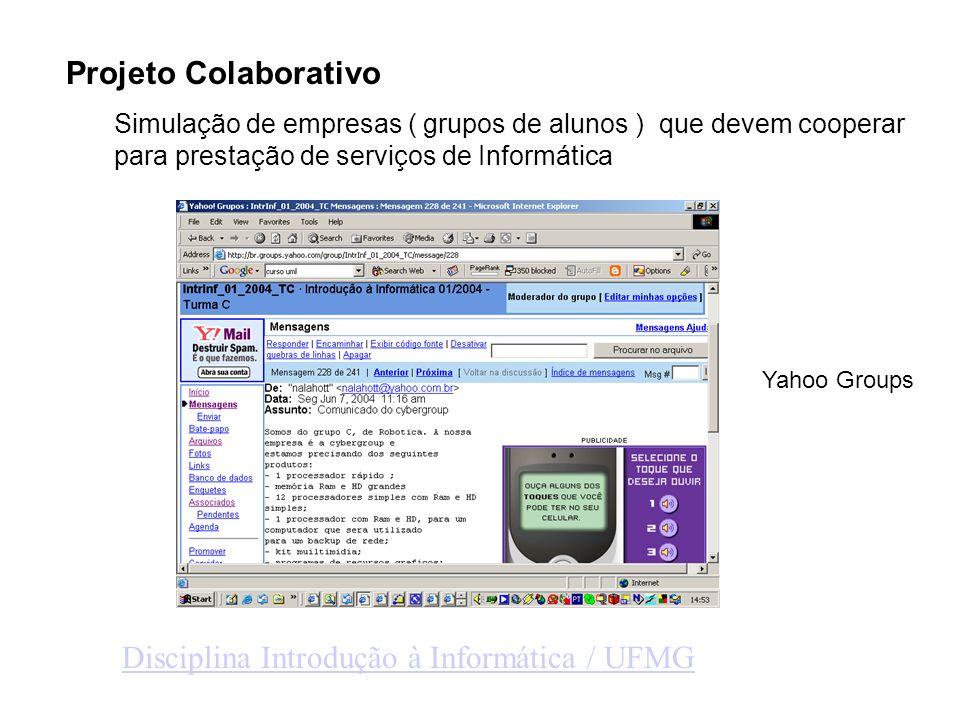 Projeto Colaborativo Simulação de empresas ( grupos de alunos ) que devem cooperar para prestação de serviços de Informática Disciplina Introdução à Informática / UFMG Yahoo Groups