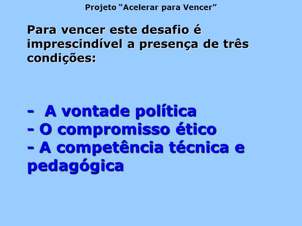 Para vencer este desafio é imprescindível a presença de três condições: - A vontade política - O compromisso ético - A competência técnica e pedagógica Projeto Acelerar para Vencer