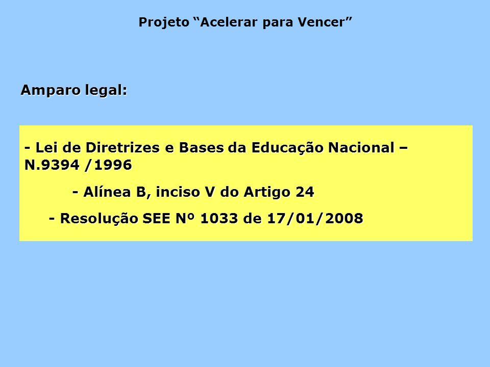 - Lei de Diretrizes e Bases da Educação Nacional – N.9394 /1996 - Alínea B, inciso V do Artigo 24 - Resolução SEE Nº 1033 de 17/01/2008 Amparo legal: Projeto Acelerar para Vencer