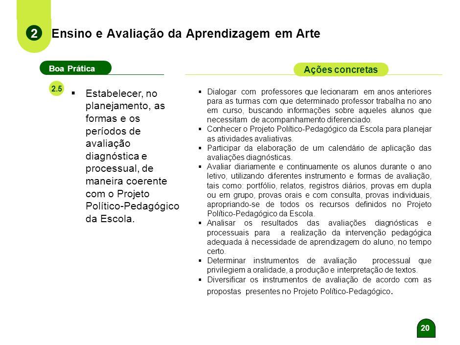19 Ensino e Avaliação da Aprendizagem em Arte 2 Boa Prática Ações concretas 2.4 19 Desenvolver as habilidades necessárias à construção de conhecimento