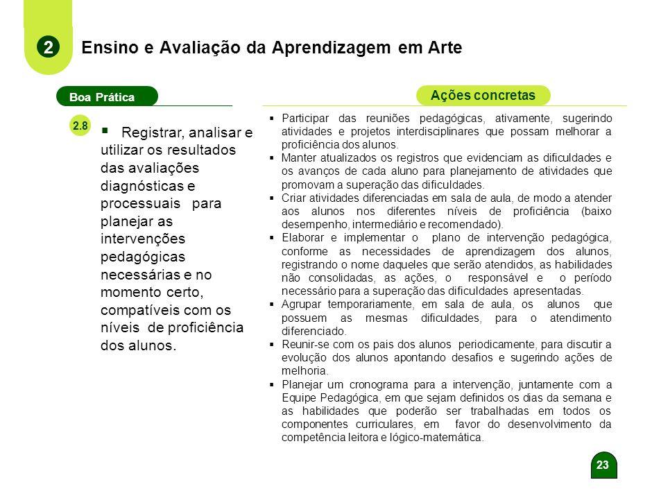 22 Ensino e Avaliação da Aprendizagem em Arte 2 Boa Prática Ações concretas 2.7 Elaborar e aplicar avaliações diagnósticas e processuais para identifi