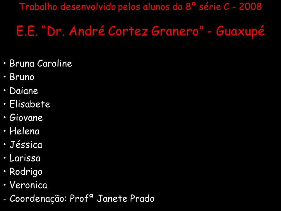 Trabalho desenvolvido pelos alunos da 8ª série C - 2008 E.E. Dr. André Cortez Granero - Guaxupé Bruna Caroline Bruno Daiane Elisabete Giovane Helena J