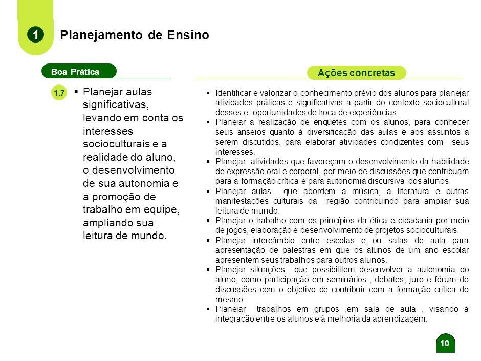 9 Planejamento de Ensino 1 Boa Prática Ações concretas Elaborar roteiros/planos de aula e sequências didáticas, com proposição coerente de atividades,