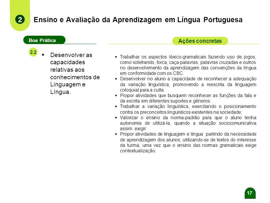 16 Ensino e Avaliação da Aprendizagem em Língua Portuguesa 2 Boa Prática Ações concretas 2.1 Desenvolver as capacidades de compreensão e produção de t