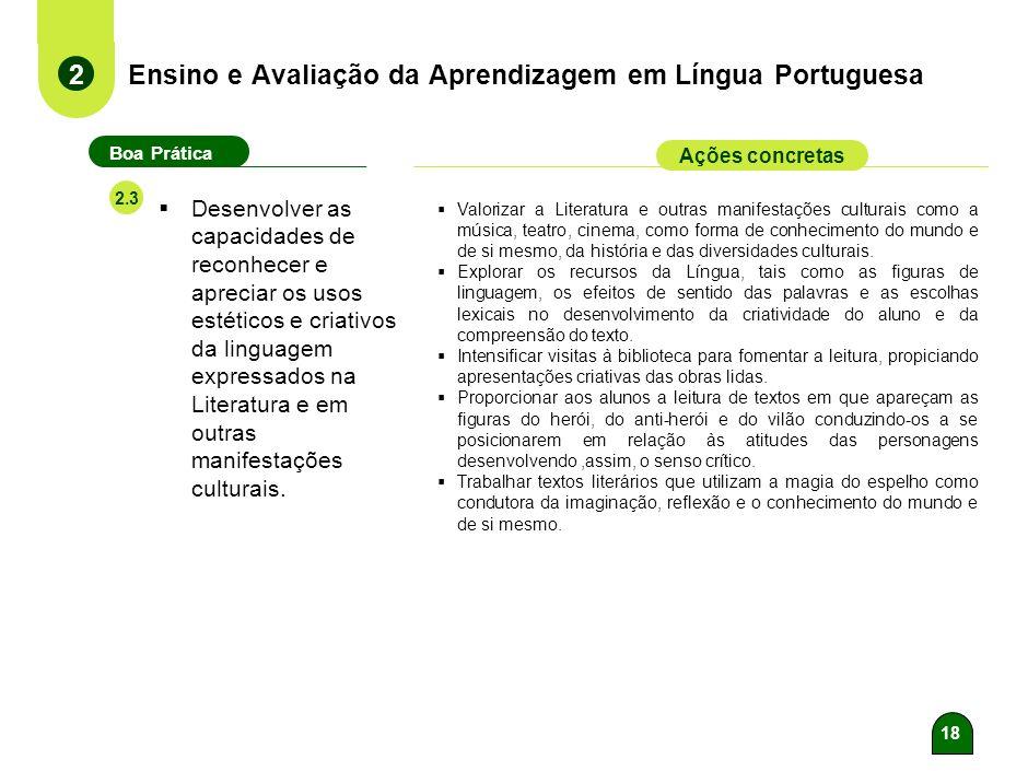 17 Ensino e Avaliação da Aprendizagem em Língua Portuguesa 2 Boa Prática Ações concretas 2.2 Desenvolver as capacidades relativas aos conhecimentos de