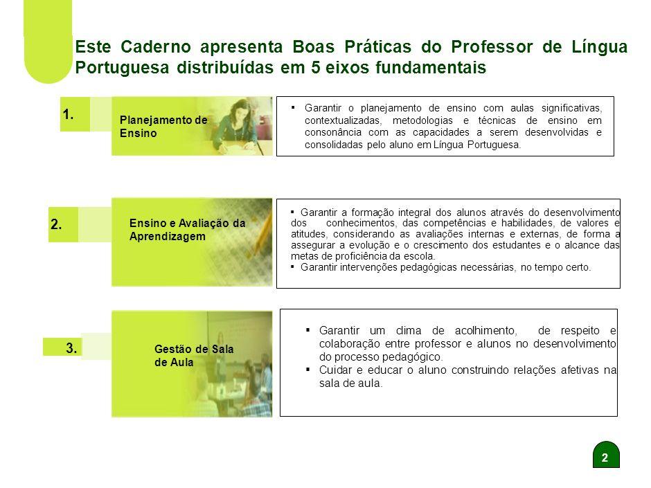 2 Este Caderno apresenta Boas Práticas do Professor de Língua Portuguesa distribuídas em 5 eixos fundamentais 2.