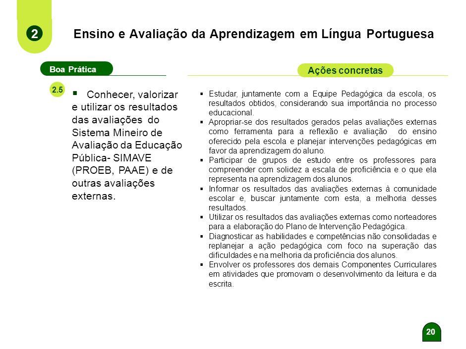 19 Ensino e Avaliação da Aprendizagem em Língua Portuguesa 2 Boa Prática Ações concretas 2.4 Estabelecer, no planejamento, as formas e os períodos de