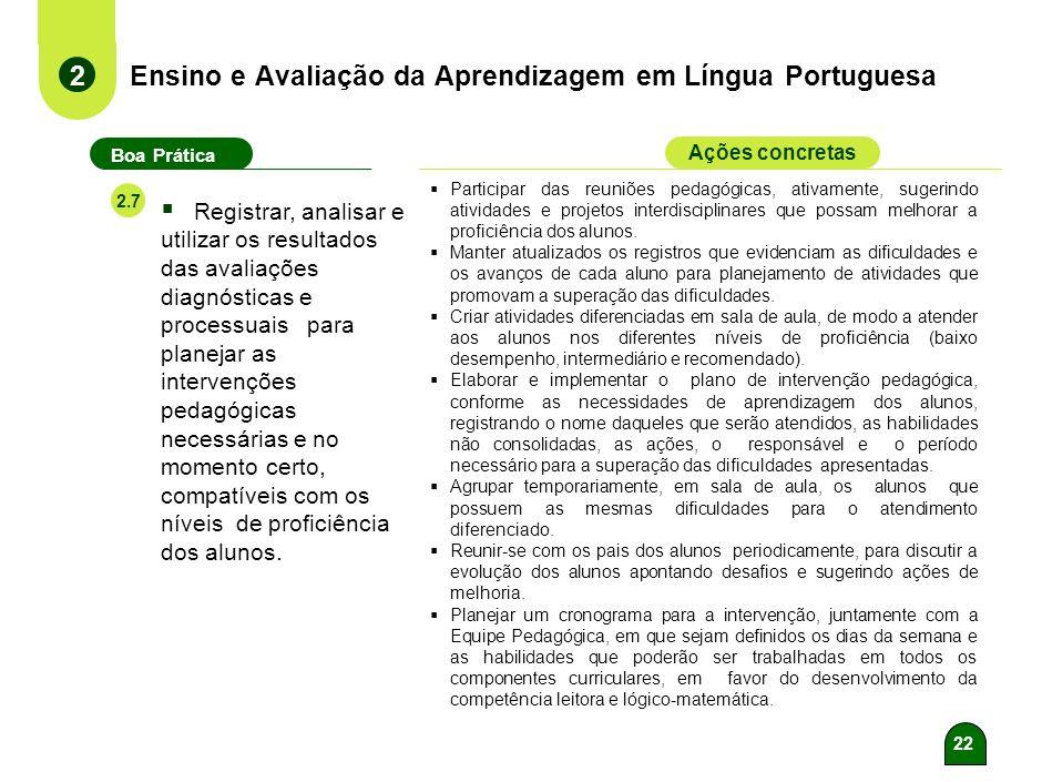 21 Ensino e Avaliação da Aprendizagem em Língua Portuguesa 2 Boa Prática Ações concretas 2.6 Elaborar e aplicar avaliações diagnósticas e processuais