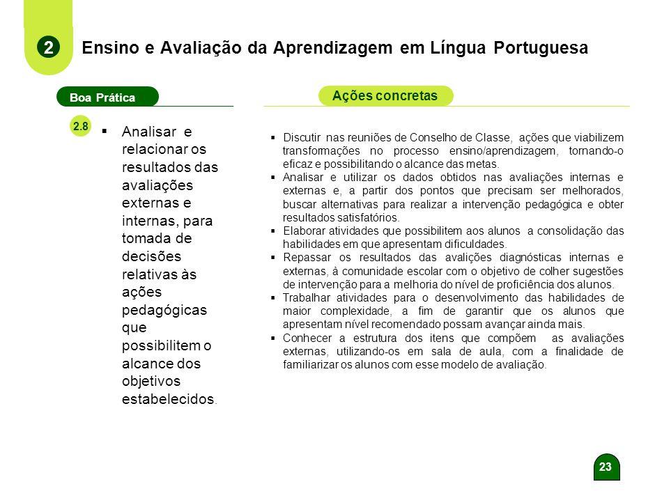 22 Ensino e Avaliação da Aprendizagem em Língua Portuguesa 2 Boa Prática Ações concretas 2.7 Registrar, analisar e utilizar os resultados das avaliaçõ