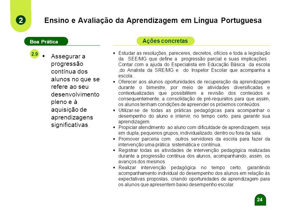 23 Ensino e Avaliação da Aprendizagem em Língua Portuguesa 2 Boa Prática Ações concretas 2.8 Analisar e relacionar os resultados das avaliações extern