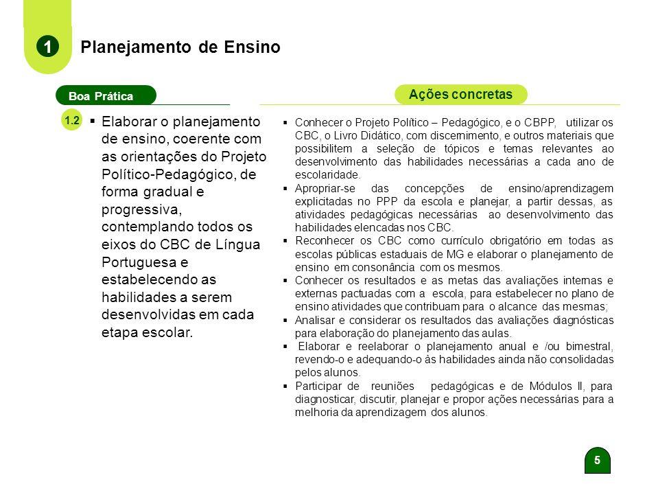 5 Planejamento de Ensino 1 Boa Prática Ações concretas 1.2 Elaborar o planejamento de ensino, coerente com as orientações do Projeto Político-Pedagógico, de forma gradual e progressiva, contemplando todos os eixos do CBC de Língua Portuguesa e estabelecendo as habilidades a serem desenvolvidas em cada etapa escolar.