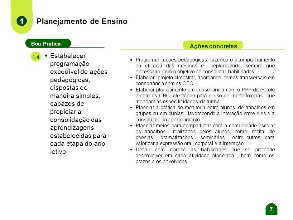 6 Planejamento de Ensino 1 Boa Prática Ações concretas 1.3 Evidenciar o caráter interdisciplinar do componente curricular Língua Portuguesa, possibili