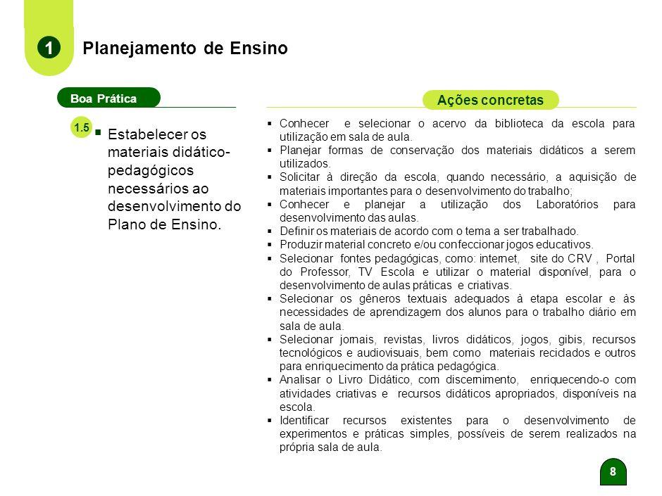 8 Planejamento de Ensino 1 Boa Prática Ações concretas Estabelecer os materiais didático- pedagógicos necessários ao desenvolvimento do Plano de Ensino.