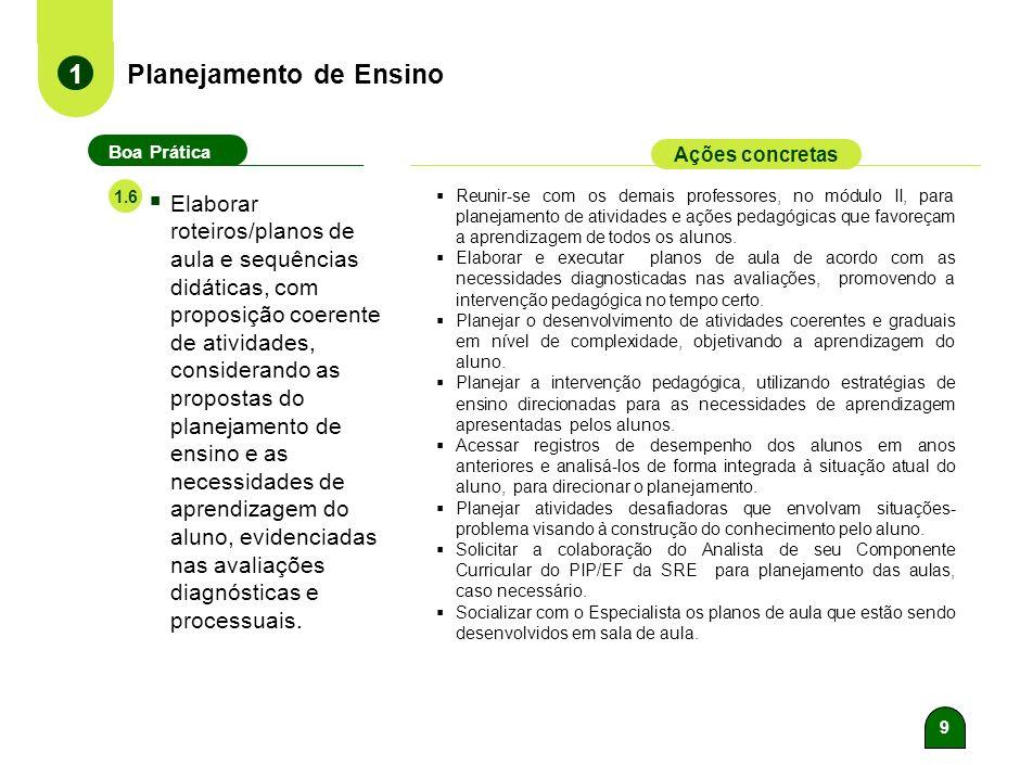 8 Planejamento de Ensino 1 Boa Prática Ações concretas Estabelecer os materiais didático- pedagógicos necessários ao desenvolvimento do Plano de Ensin