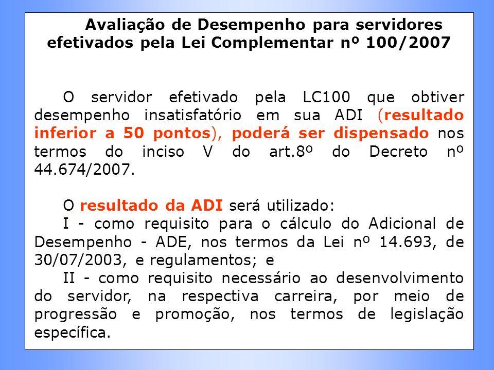 Avaliação de Desempenho para servidores efetivados pela Lei Complementar nº 100/2007 O servidor efetivado pela LC100 que obtiver desempenho insatisfat