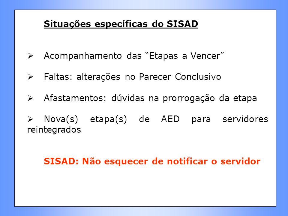 Situações específicas do SISAD Acompanhamento das Etapas a Vencer Faltas: alterações no Parecer Conclusivo Afastamentos: dúvidas na prorrogação da eta
