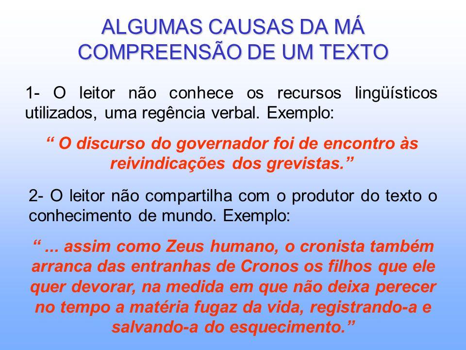 ALGUMAS CAUSAS DA MÁ COMPREENSÃO DE UM TEXTO 1- O leitor não conhece os recursos lingüísticos utilizados, uma regência verbal.