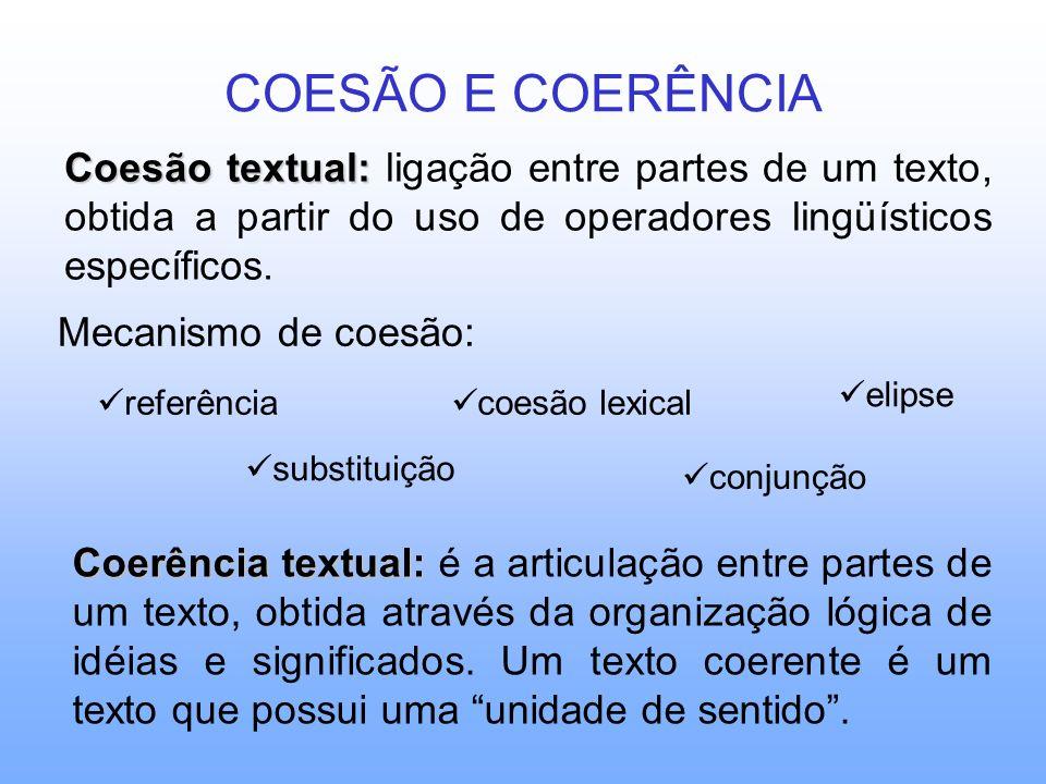 COESÃO E COERÊNCIA Mecanismo de coesão: referência substituição coesão lexical conjunção elipse Coesão textual: Coesão textual: ligação entre partes de um texto, obtida a partir do uso de operadores lingüísticos específicos.