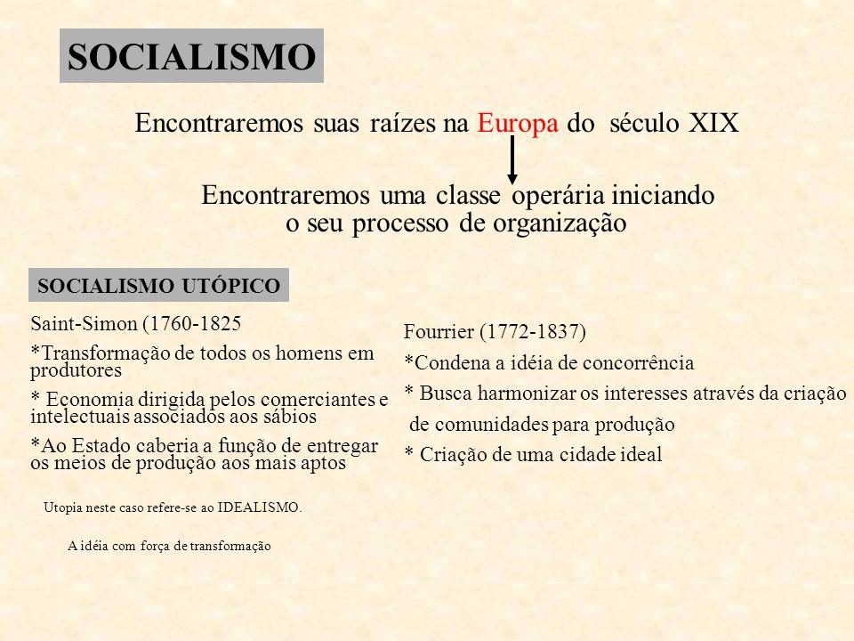 SOCIALISMO Encontraremos suas raízes na Europa do século XIX Encontraremos uma classe operária iniciando o seu processo de organização SOCIALISMO UTÓP