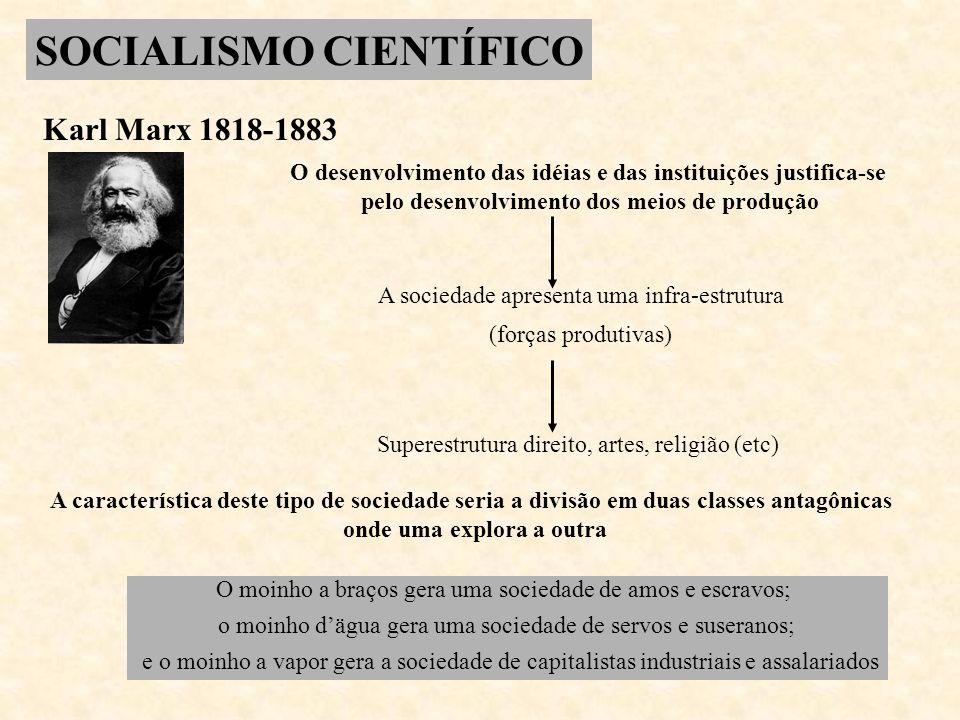 SOCIALISMO CIENTÍFICO Karl Marx 1818-1883 O desenvolvimento das idéias e das instituições justifica-se pelo desenvolvimento dos meios de produção A so