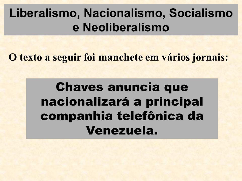 Liberalismo, Nacionalismo, Socialismo e Neoliberalismo O texto a seguir foi manchete em vários jornais: Chaves anuncia que nacionalizará a principal c