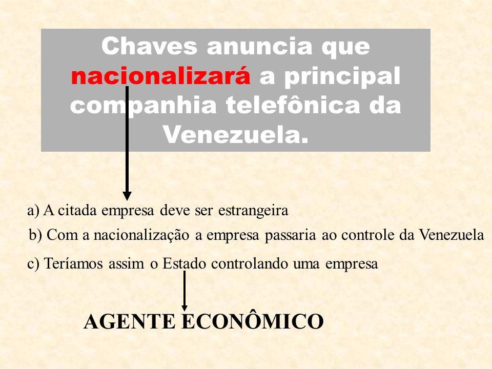 Chaves anuncia que nacionalizará a principal companhia telefônica da Venezuela. a) A citada empresa deve ser estrangeira b) Com a nacionalização a emp