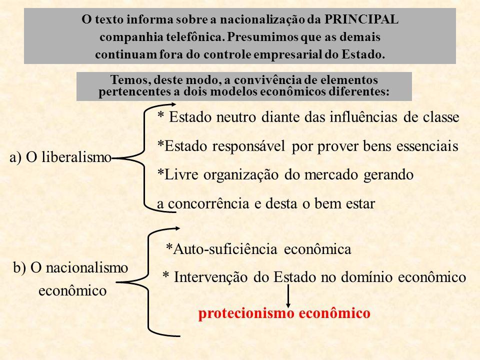 O texto informa sobre a nacionalização da PRINCIPAL companhia telefônica. Presumimos que as demais continuam fora do controle empresarial do Estado. T