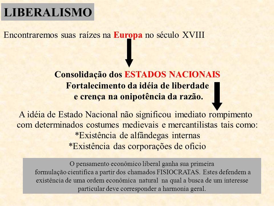 LIBERALISMO Encontraremos suas raízes na Europa no século XVIII Consolidação dos ESTADOS NACIONAIS Fortalecimento da idéia de liberdade e crença na on