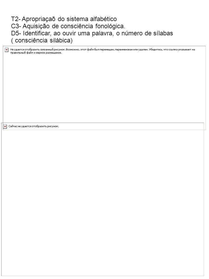 T2- Apropriaçaõ do sistema alfabético C3- Aquisição de consciência fonológica. D5- Identificar, ao ouvir uma palavra, o número de sílabas ( consciênci