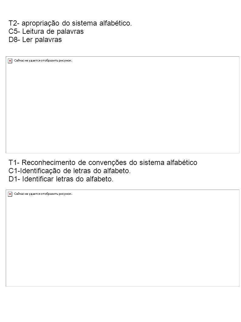 T2- apropriação do sistema alfabético. C5- Leitura de palavras D8- Ler palavras T1- Reconhecimento de convenções do sistema alfabético C1-Identificaçã