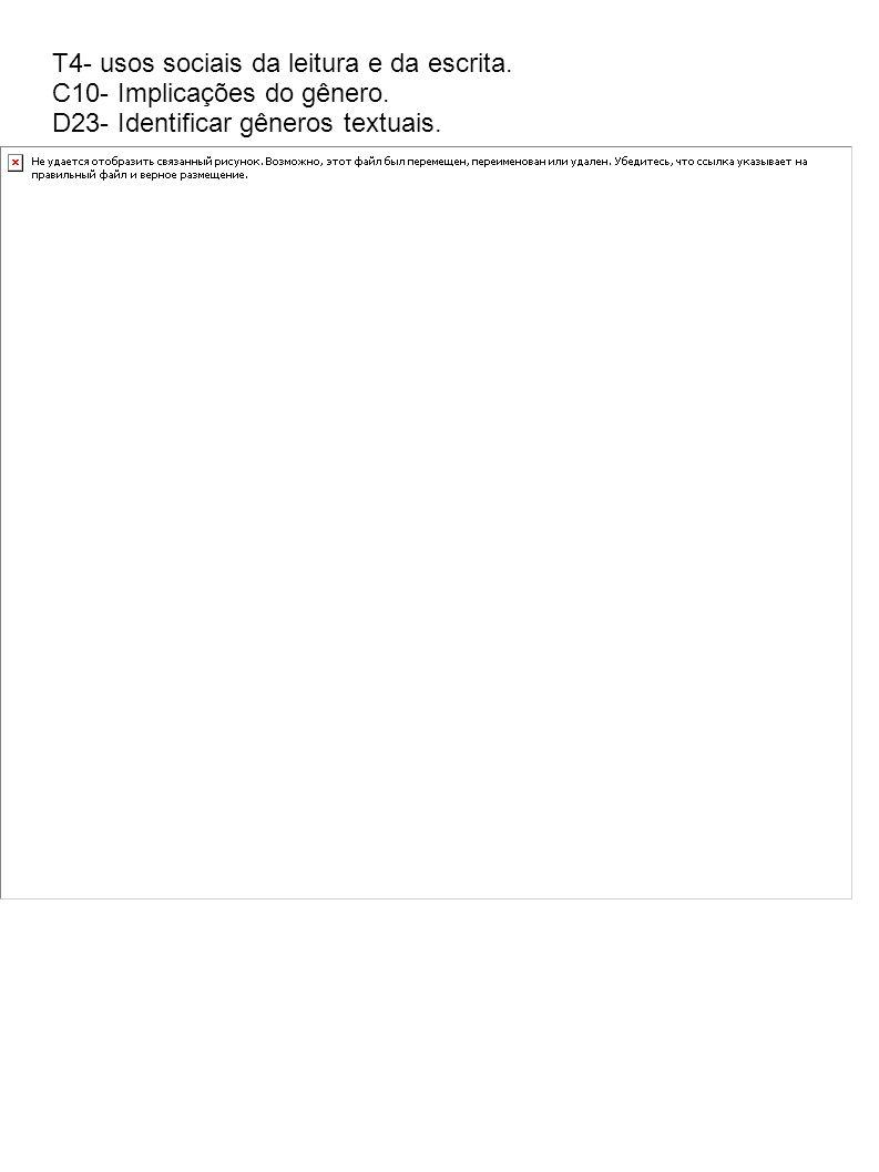 T4- usos sociais da leitura e da escrita. C10- Implicações do gênero. D23- Identificar gêneros textuais.