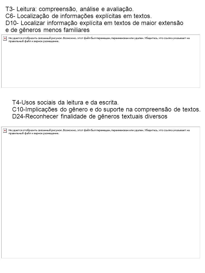 T3- Leitura: compreensão, análise e avaliação. C6- Localização de informações explícitas em textos. D10- Localizar informação explícita em textos de m