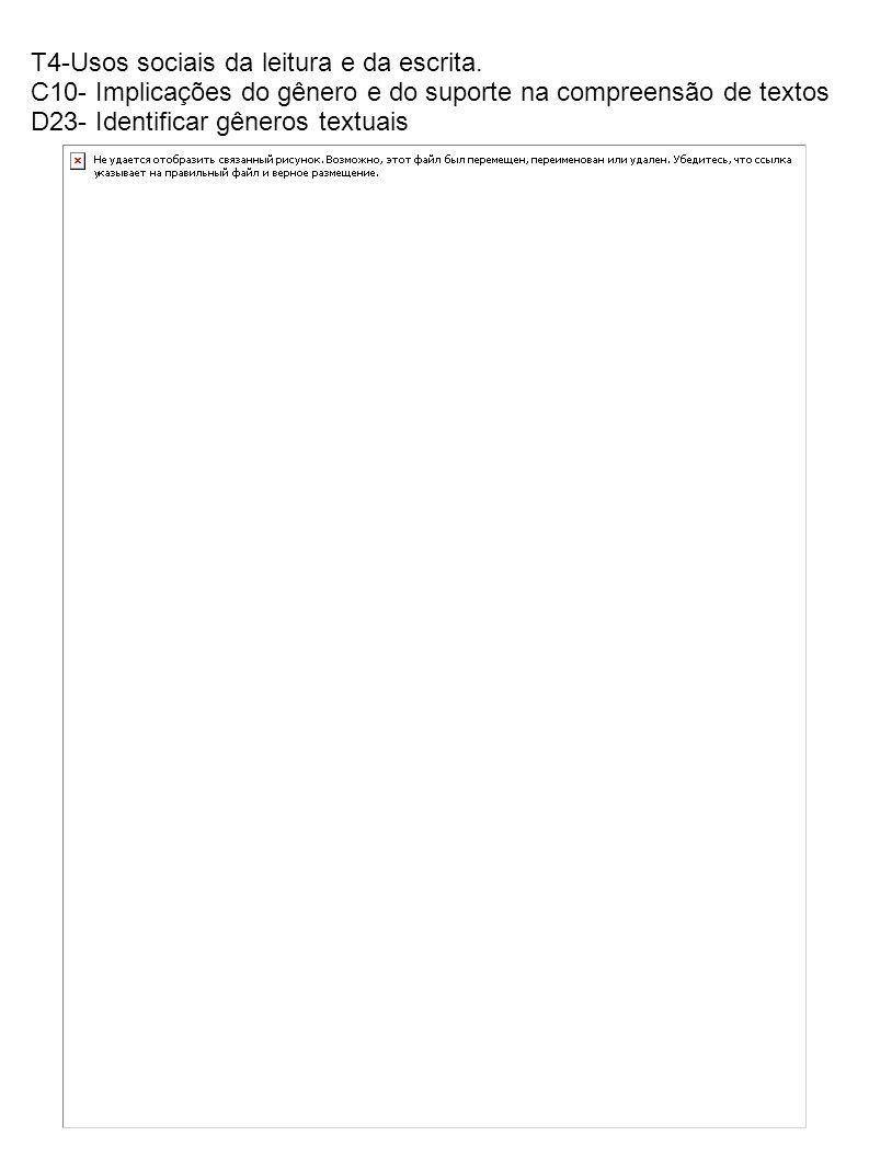 T4-Usos sociais da leitura e da escrita. C10- Implicações do gênero e do suporte na compreensão de textos D23- Identificar gêneros textuais