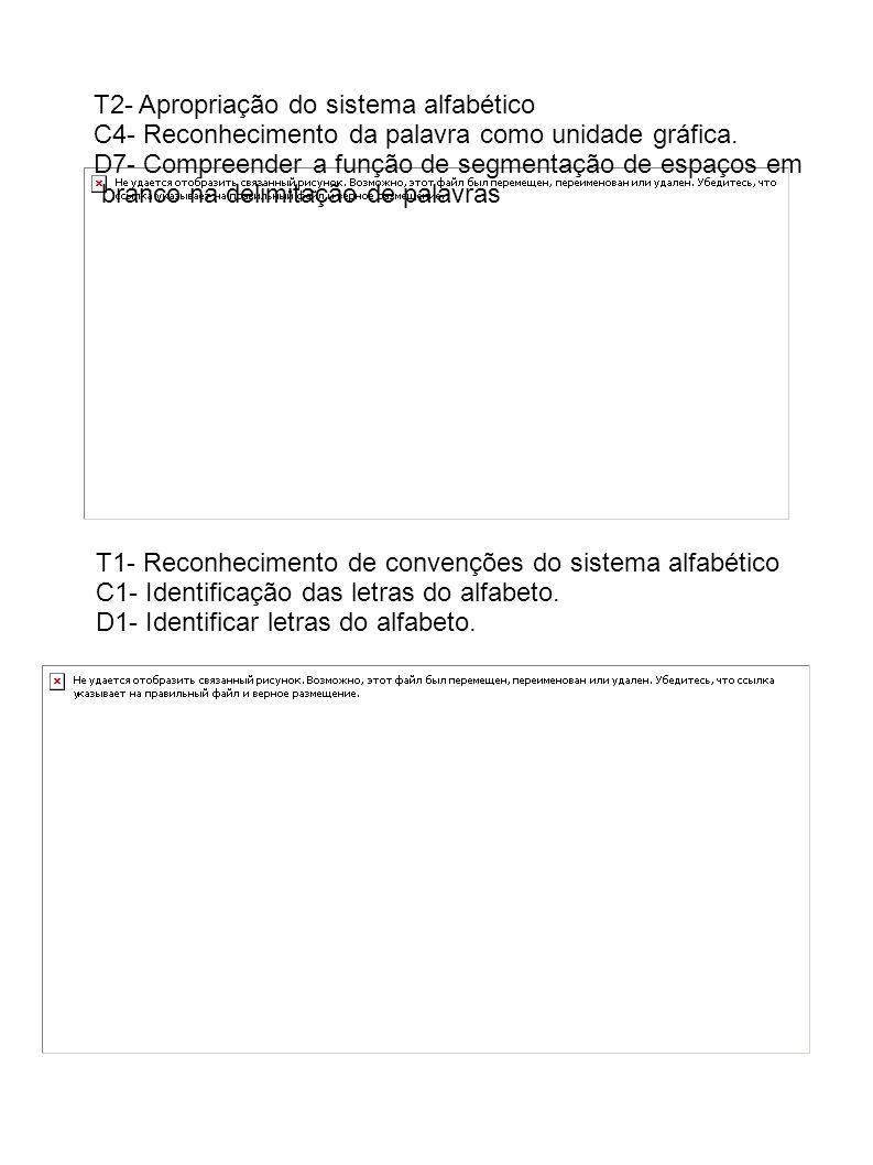 T2- Apropriação do sistema alfabético C4- Reconhecimento da palavra como unidade gráfica. D7- Compreender a função de segmentação de espaços em branco