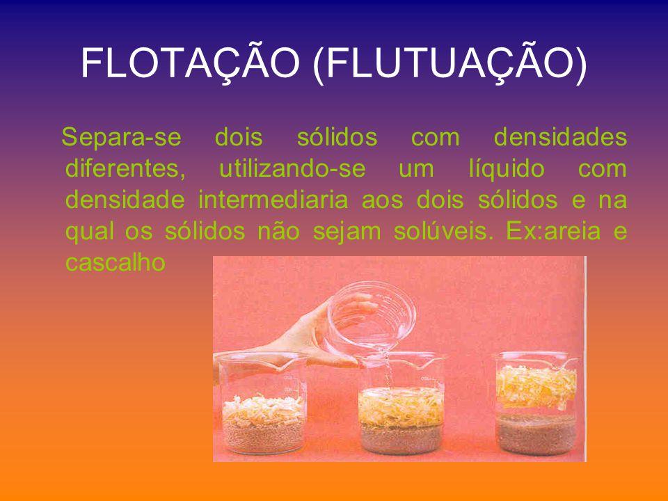 FLOTAÇÃO (FLUTUAÇÃO) Separa-se dois sólidos com densidades diferentes, utilizando-se um líquido com densidade intermediaria aos dois sólidos e na qual