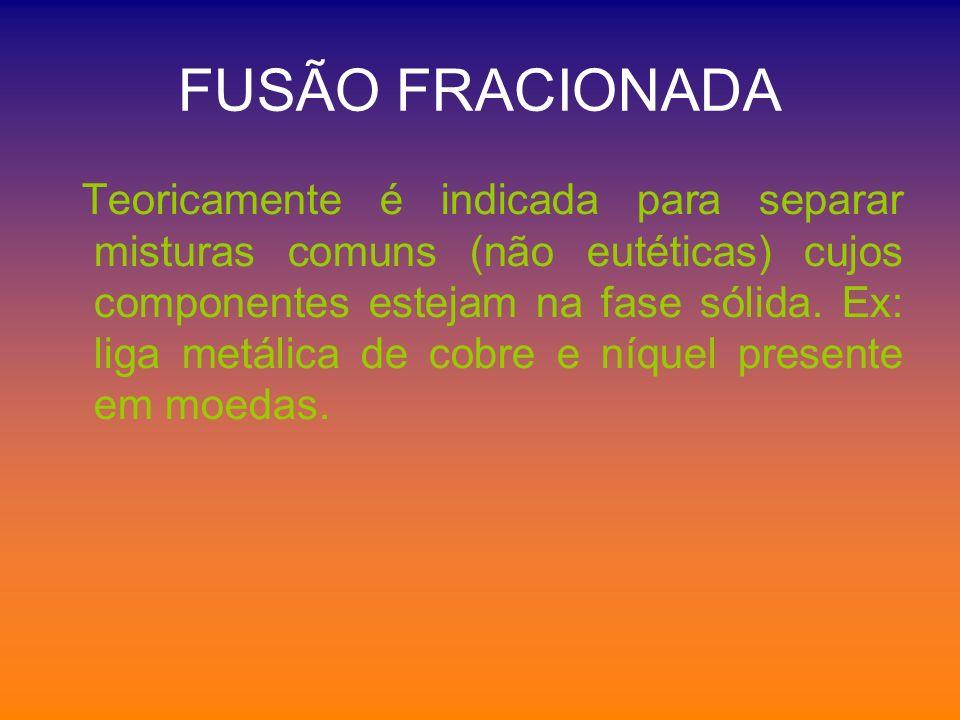 FUSÃO FRACIONADA Teoricamente é indicada para separar misturas comuns (não eutéticas) cujos componentes estejam na fase sólida. Ex: liga metálica de c