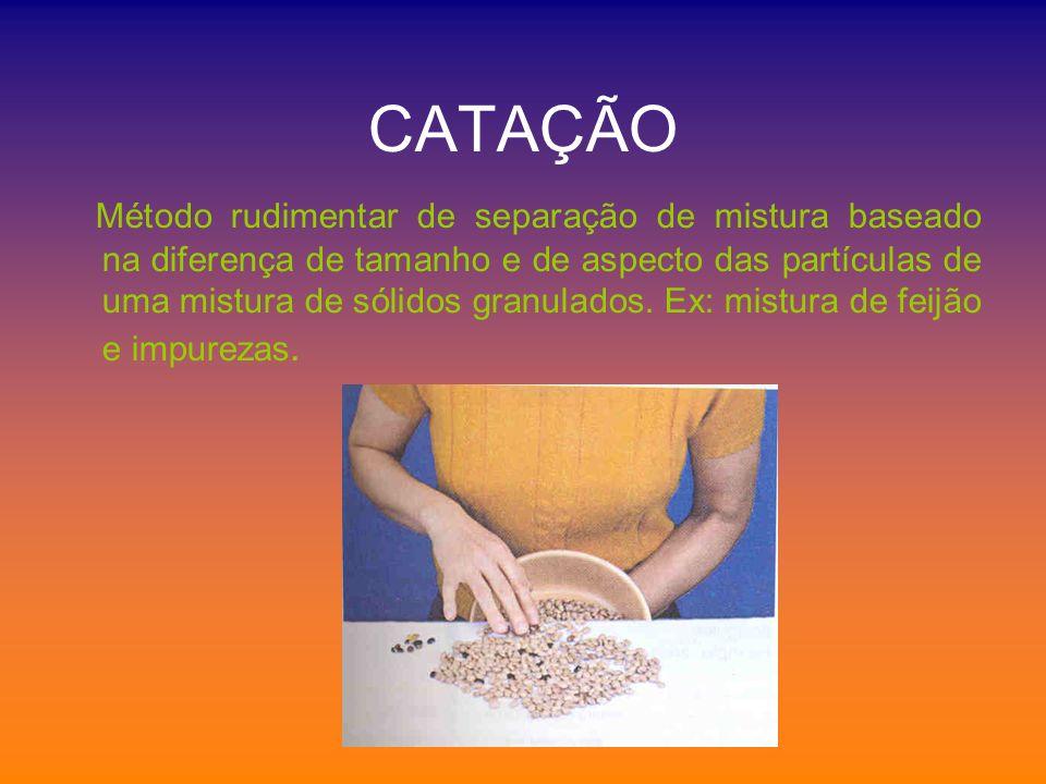 CATAÇÃO Método rudimentar de separação de mistura baseado na diferença de tamanho e de aspecto das partículas de uma mistura de sólidos granulados. Ex