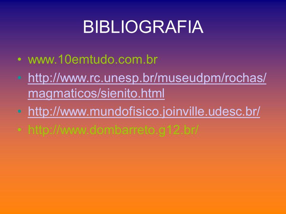 BIBLIOGRAFIA www.10emtudo.com.br http://www.rc.unesp.br/museudpm/rochas/ magmaticos/sienito.htmlhttp://www.rc.unesp.br/museudpm/rochas/ magmaticos/sie