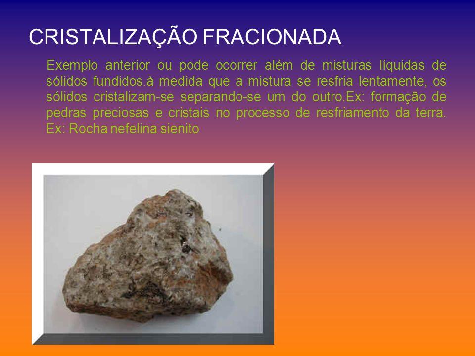 CRISTALIZAÇÃO FRACIONADA Exemplo anterior ou pode ocorrer além de misturas líquidas de sólidos fundidos.à medida que a mistura se resfria lentamente,