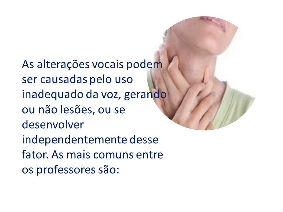 As alterações vocais podem ser causadas pelo uso inadequado da voz, gerando ou não lesões, ou se desenvolver independentemente desse fator.