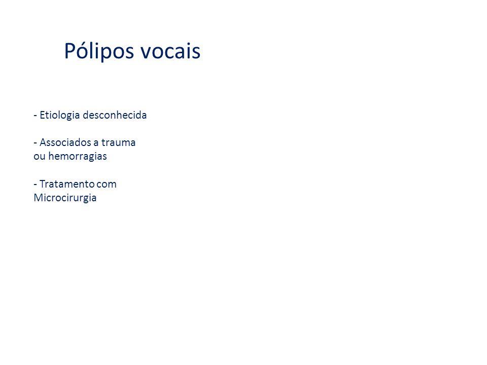 Pólipos vocais - Etiologia desconhecida - Associados a trauma ou hemorragias - Tratamento com Microcirurgia