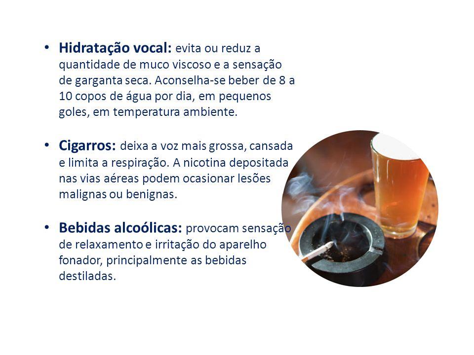 Hidratação vocal: evita ou reduz a quantidade de muco viscoso e a sensação de garganta seca. Aconselha-se beber de 8 a 10 copos de água por dia, em pe