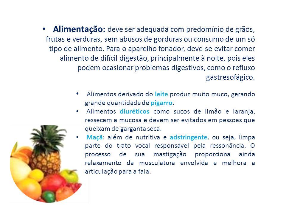 Alimentação: deve ser adequada com predomínio de grãos, frutas e verduras, sem abusos de gorduras ou consumo de um só tipo de alimento.