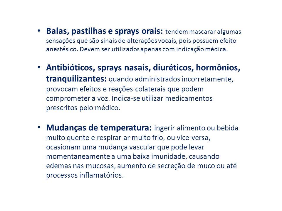 Balas, pastilhas e sprays orais: tendem mascarar algumas sensações que são sinais de alterações vocais, pois possuem efeito anestésico. Devem ser util